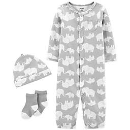carter's® Preemie 3-Piece Elephant Converter Gown, Hat, and Socks Set in Grey/Ivory
