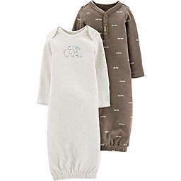 carter's® Preemie 2-Pack Peanut Gowns in Brown/Ivory