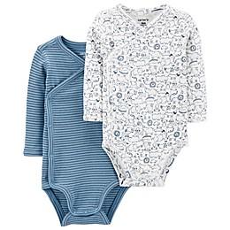 carter's® Preemie 2-Pack Side-Snap Kimono Bodysuits in Blue/White