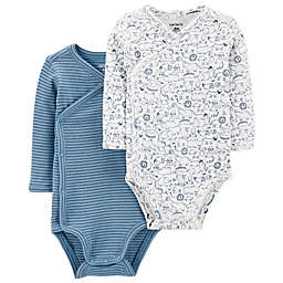 carter's® Preemie 2-Pack Side-Snap Kimono Bodysuits in Blue/White
