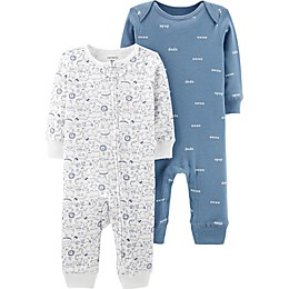 carter's® Preemie 2-Pack Animal and Words Coveralls