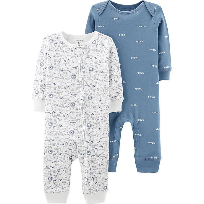 Alternate image 1 for carter's® Preemie 2-Pack Animal and Words Coveralls