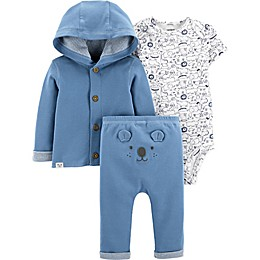 carter's® Preemie 3-Piece Bear Bodysuit, Cardigan, and Pant Set in Blue