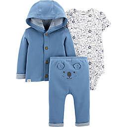 carter's® Preemie 3-Piece Bear Bodysuit, Cardigan, and Pant Set in Blue