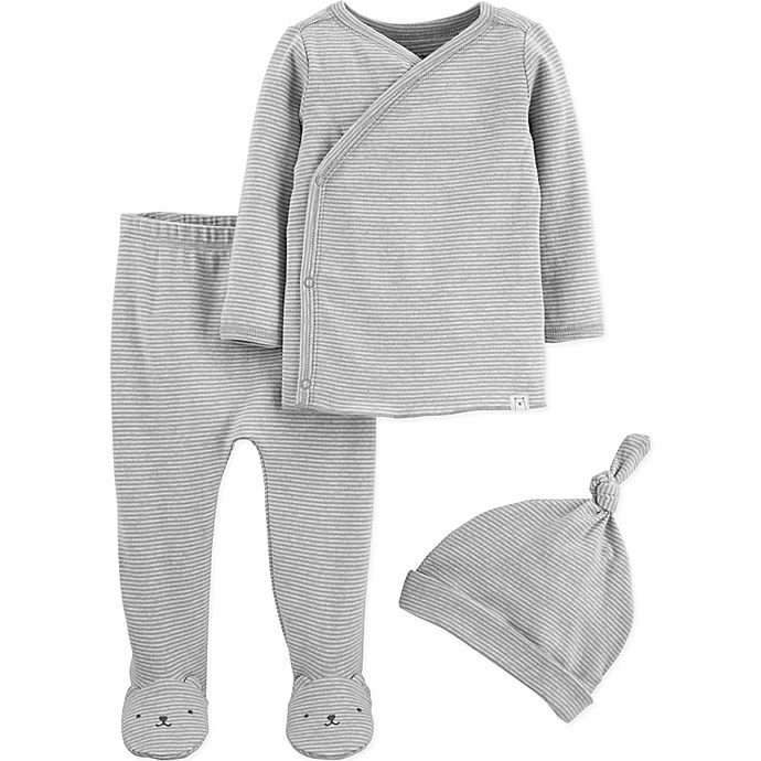 Alternate image 1 for carter's® 3-Piece Kimono, Footed Pant, and Hat Set in Grey