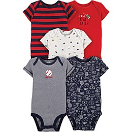 carter's® 5-Pack Sports Bodysuits in Red/Navy