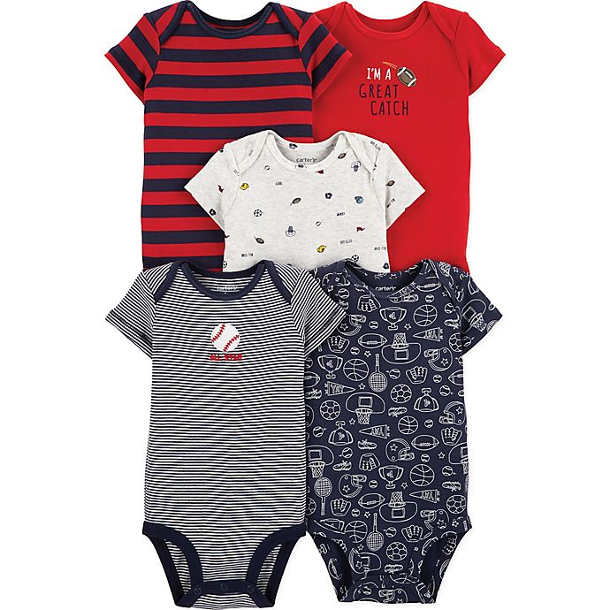 Alternate image 1 for carter's® 5-Pack Sports Bodysuits in Red/Navy