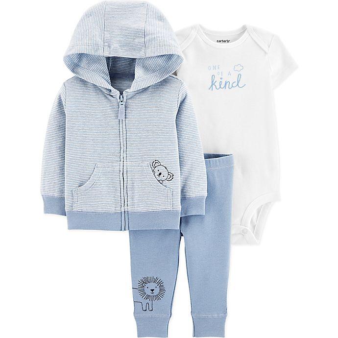 Alternate image 1 for carter's® 3-Piece Koala Little Jacket, Bodysuit, and Pant Set in Blue/Ivory