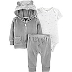 carter's® Size 3M 3-Piece Bear Bodysuit, Jacket, and Pant Set in Grey