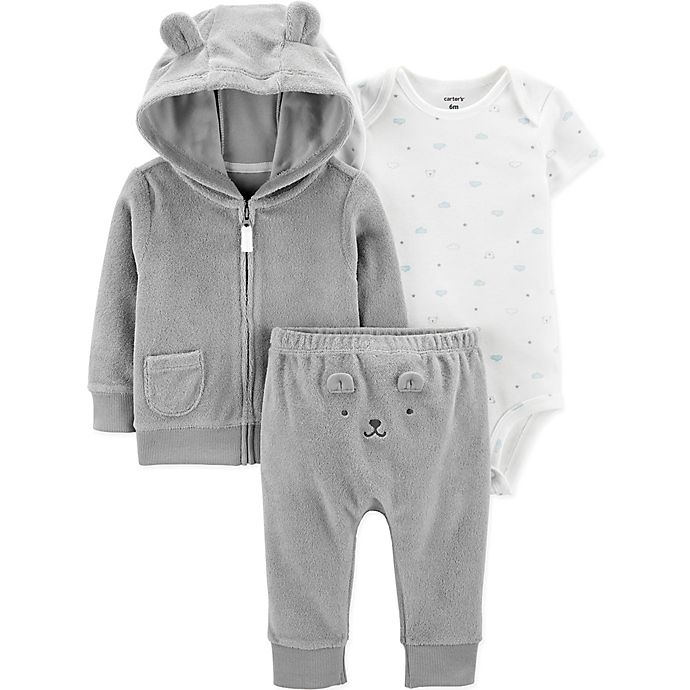 Alternate image 1 for carter's® 3-Piece Bear Bodysuit, Jacket, and Pant Set in Grey