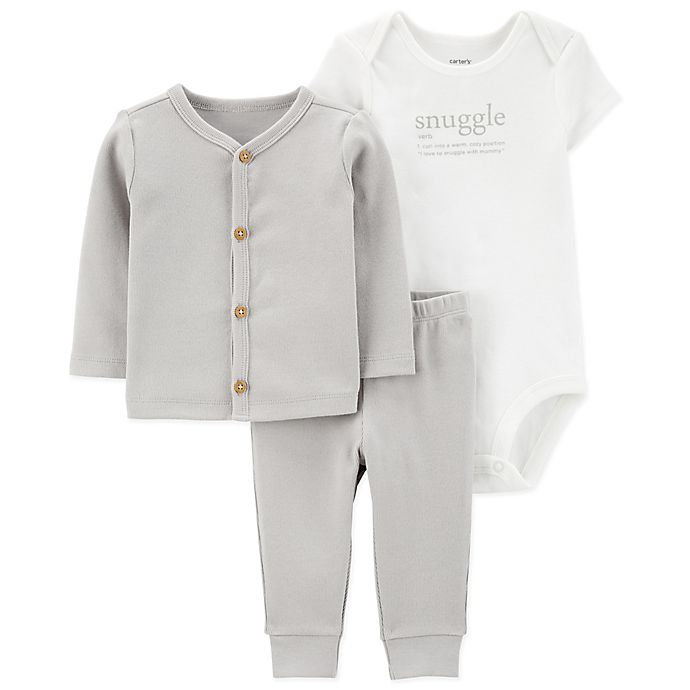 Alternate image 1 for carter's® 3-Piece Snuggle Layette Set in Grey