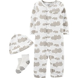 carter's® 3-Piece Hippo Converter Gown, Hat, and Socks Set in Brown/Ivory