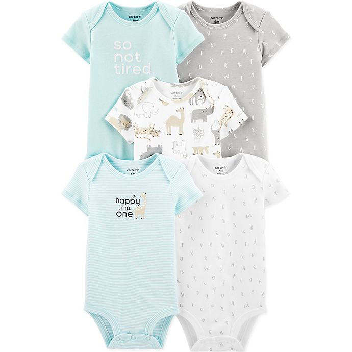 Alternate image 1 for carter's® 5-Pack Tired, Animal, and Alphabet Bodysuits