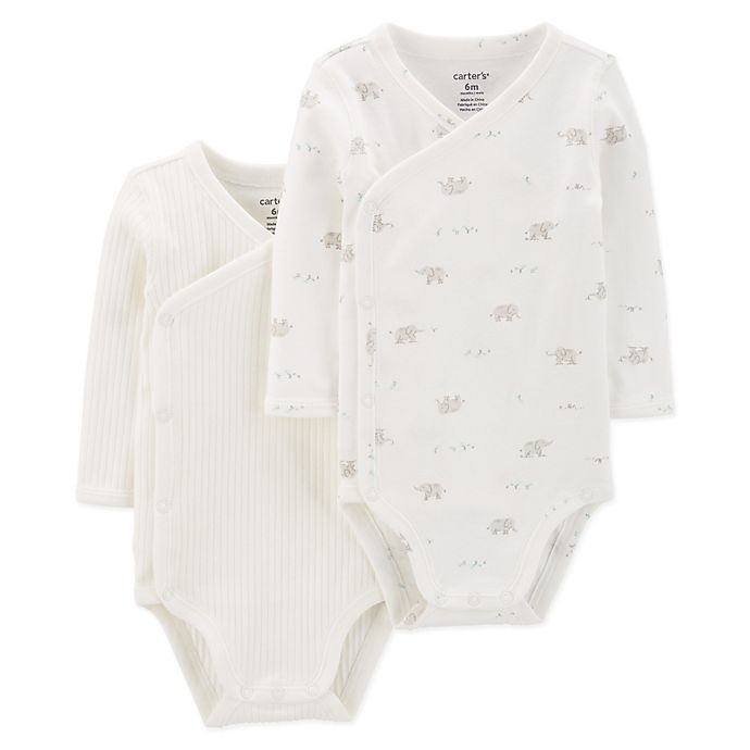 Alternate image 1 for carter's® 2-Pack Elephant Kimono Bodysuits in Ivory