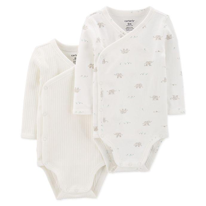 e3e00c3b89bb carter's® 2-Pack Elephant Kimono Bodysuits in Ivory | buybuy BABY
