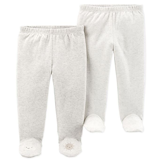 Alternate image 1 for carter's® 2-Pack Footed Pants in Heather/Ivory