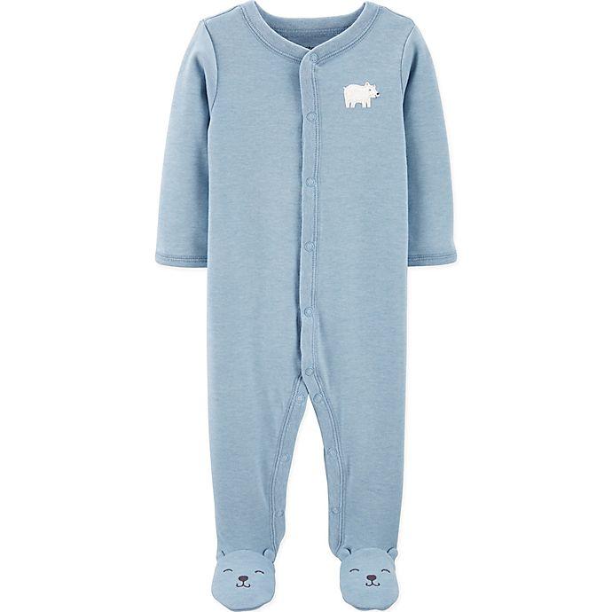 Alternate image 1 for carter's® Preemie Polar Bear Footie in Blue