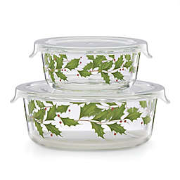 Lenox® Merry & Pine Glass Food Storage Bowls in Red/Green (Set of 2)
