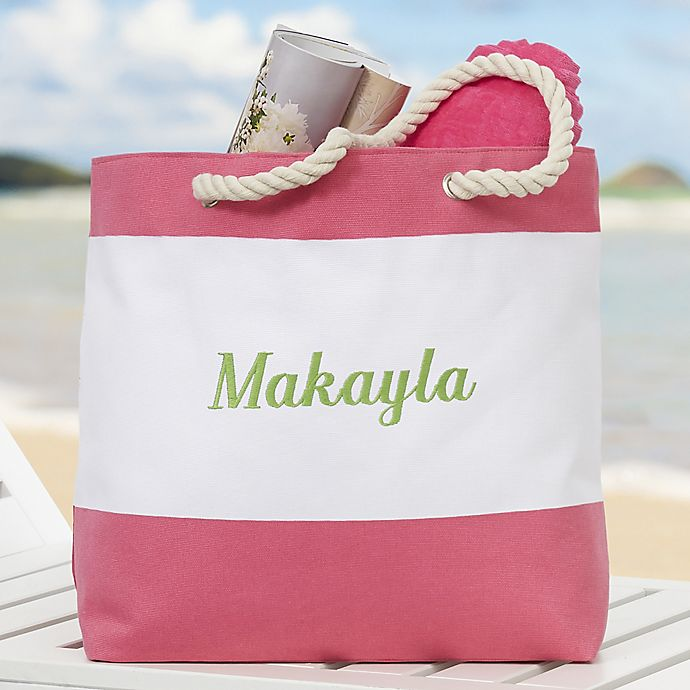 Alternate image 1 for Colorful Name Embroidered Beach Tote Collection