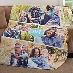 Photo Collage Monogram Personalized Blanket