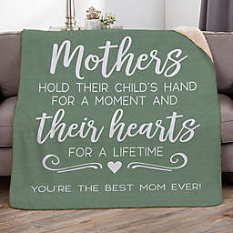 Mothers Hold Their Child's Hand Personalized Blanket