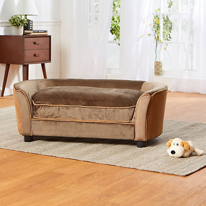 Alternate image 1 for Enchanted Home Upholstered Ultra Plush Panache Pet Sofa in Brown