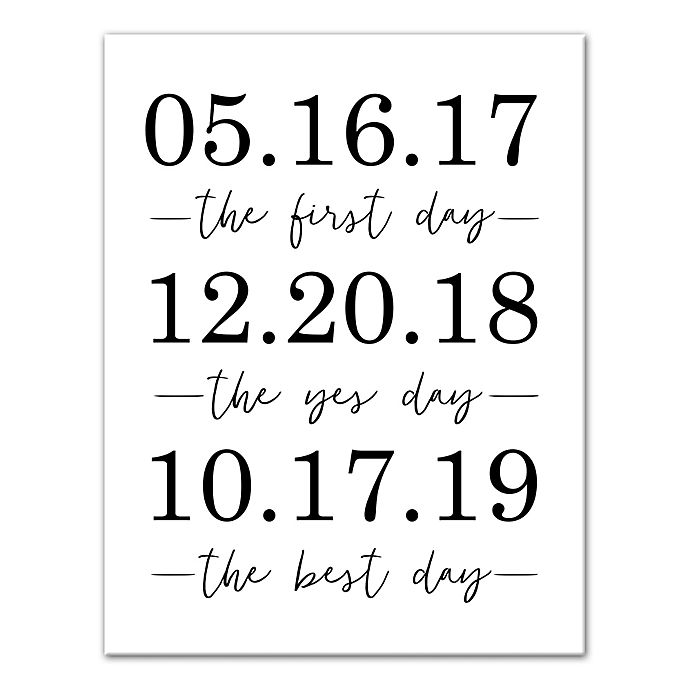 Alternate image 1 for Designs Direct Personalized Important Dates 16-Inch x 20-Inch Canvas Wall Art