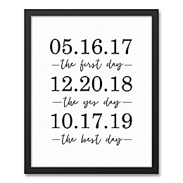 Designs Direct Personalized Important Dates 17.73-Inch x 21.73-Inch Black Framed Canvas Wall Art