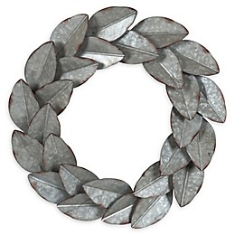 Kate and Laurel Magnolia Wreath 21-Inch Metal Art in Pewter