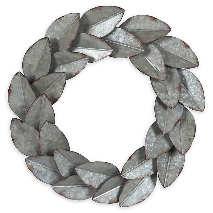 Alternate image 1 for Kate and Laurel Magnolia Wreath 21-Inch Metal Art in Pewter