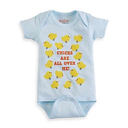 "Sara Kety® Size 6-12M ""Chicks Are All Over Me"" Bodysuit in Light Blue"
