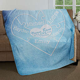 We Love You To Pieces 60-Inch x 80-Inch Personalized Sherpa Blanket