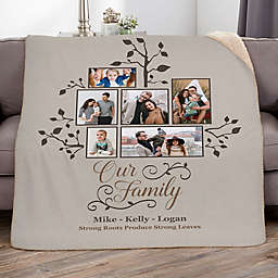 Photo Family Tree 60-Inch x 80-Inch Personalized Sherpa Blanket