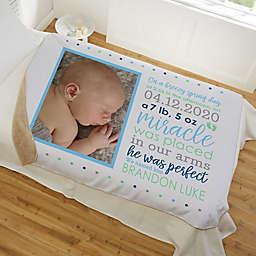 Baby Boy's Story Personalized Photo Sherpa Blanket