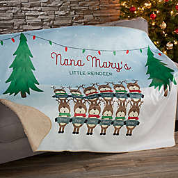 Reindeer Family Character 60-Inch x 80-Inch Personalized Sherpa Blanket