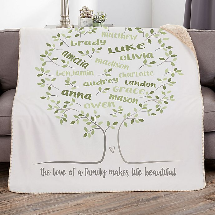 Alternate image 1 for Family Tree of Life Personalized Sherpa Blanket