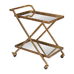 Kate and Laurel™ Tarrant 2-Tier Mirrored Bar Cart in Gold