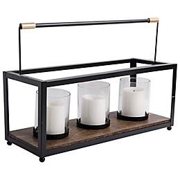 Home Essentials & Beyond 3 Pillar Candle Holder in Matte Black