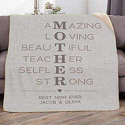 Mother Acronym Personalized Sherpa Blanket