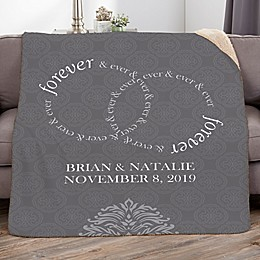 Forever and Ever Personalized Wedding Sherpa Blanket