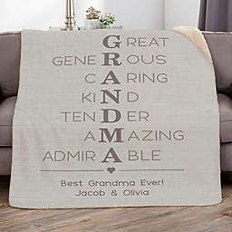 Grandma Acronym 60-Inch x 80-Inch Personalized Sherpa Blanket