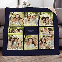 Family Photomontage Personalized Photo Sherpa Blanket