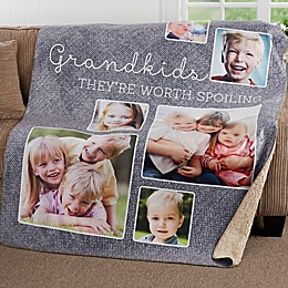 They're Worth Spoiling Personalized Photo Sherpa Blanket