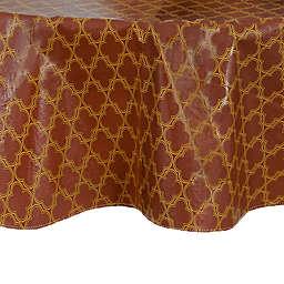 Grace Geometric 70-Inch Round Vinyl Tablecloth in Brick