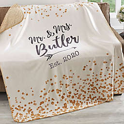 Sparkling Love 60-Inch x 80-Inch Personalized Sherpa Blanket