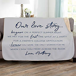 Our Love Story 60-Inch x 80-Inch Personalized Sherpa Blanket