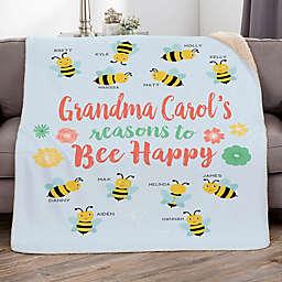 Bee Happy 60-Inch x 80-Inch Personalized Sherpa Blanket