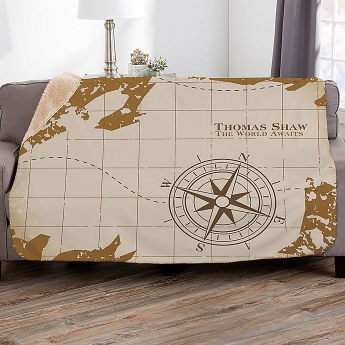 Alternate image 1 for Compass Inspired Retirement Personalized Sherpa Blanket