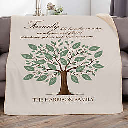 """Family Tree """"Family"""" 50-Inch x 60-Inch Personalized Sherpa Blanket"""