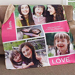 Family Love Photo Collage Personalized Fleece Photo Sherpa Blanket